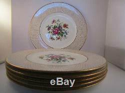 Vintage Cauldon Bone China England Reizenstein Flowers Set of 6 Dinner Plates A