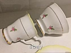 Vintage China 21-Piece Tea Set Pink Ditsy Dot Rose & Yellow Lemon Royal Stafford