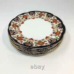 Vintage Collingwoods Bone China Dessert Plates Set/6 White Blue England RARE