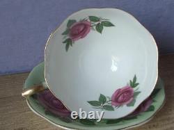 Vintage England Large Pink Roses Green bone china Tea Cup Teacup Set