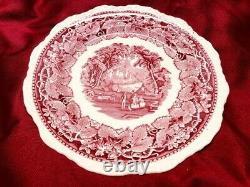 Vintage Mason Vista England Patent Ironstone Red/Pink 24pc China Set Circa 1940s