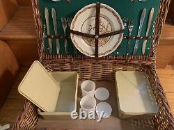 Vintage Optima England Picnic Basket With Furnival China set of 4 Very Good Cond