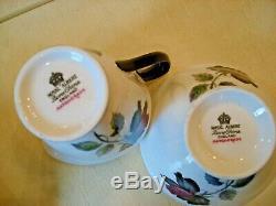 Vintage ROYAL ALBERT BONE CHINA ENGLAND MASQUERADE BLACK ROSE Tea -Set 15 pcs