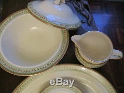Vintage ROYAL DOULTON Hampton D6157 DINNER SET & EXTRAS green/tan gold trim @ NR