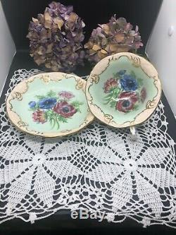 Vintage Rare Paragon Bone China England Poppies Anemones Tea Cup & Saucer Set
