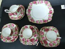 Vintage Royal Albert Bone China England Old English Rose 17 pcs. Tea Set 1930's