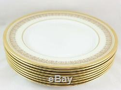 Vintage Set 6 Dinner Plates Aynsley China England Champagne 205 Gold Bone White