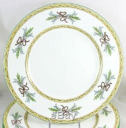 Vintage Set 6 Dinner Plates Minton Bone China England Beverley B1310 Aqua Green