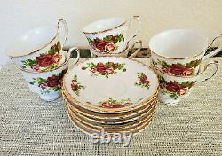 Vintage Set of 6 England Fine Bone China Roses Coffee Tea Cups and Saucers
