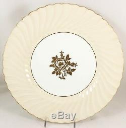 Vintage Set(s) 6 Dinner Plates Minton Bone China England S502 Gold Cream Swirled