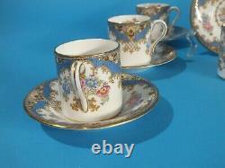Vintage Shelley England Bone China Demitasse Cup & Saucer, Set of 8
