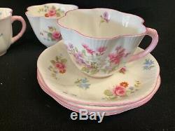 Vintage Shelley Fine Bone China England Pink Purple Blue Flowers Set of 12