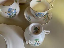 Vintage Tuscan Blue Iris Tea Set England Bone China 21 pcs 6 cups saucers bowl
