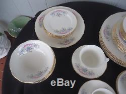 Vintage queen anne dinner tea set for 6 pink & blue h 97 2 bone china England