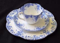 Vintg SHELLEY Bone China England DAINTY BLUE Trio Set Cup Saucer & Plate #051/28