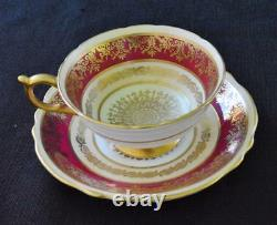 Vtg 40s PARAGON Bone China England Red Gold Decor Set Footed Cup & Saucer#A504