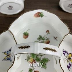 Vtg Coleport Bone China England Strawberry Basket Three Pc Set