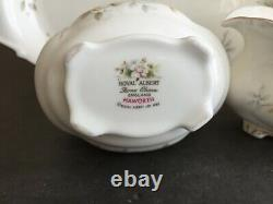 Vtg ROYAL ALBERT BONE CHINA ENGLAND HAWORTH TEA POT SET 4 PCS SUGAR CREAM TRAY