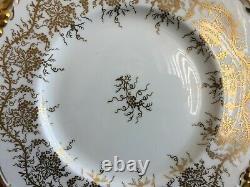 Vtg ROYAL CAULDON BONE CHINA KING'S PLATE GOLD GILT VINE 5 PIECES PLACE SETTING