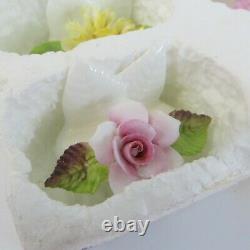 Vtg Set of 8 COALPORT Placecard Holders Bone China England Flowers Double Leaf