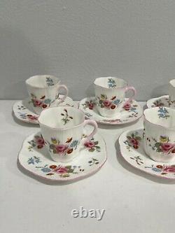 Vtg Shelley England Fine Bone China Porcelain Set of 7 Cups Saucers Floral Dec