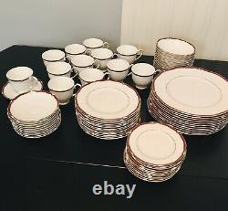 Wedgewood Empress ruby England Bone China 72 Pc Set. Service For 12. Excellent