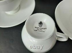 Wedgewood England White Leigh Footed Cup & Saucer Bone China Set of 8