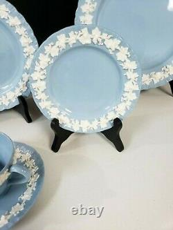 Wedgewood Queensware Lavender Blue Embossed China 5 piece place setting England