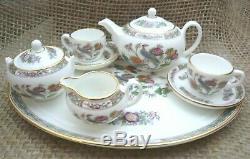 Wedgwood Bone China Miniature 8 PC Kutani Crane Tea Set, Teapot Teacups, England