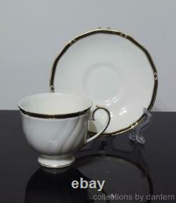 Wedgwood Bone China Royal Lapis Footed Cups and Saucers, Set of 6