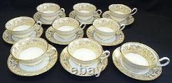 Wedgwood England Gold Florentine Set of 9 Cups & Saucers Bone China 2 Marks
