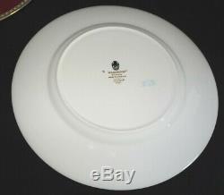 Wedgwood England Ulander Ruby Set of 5 Dinner Plates Bone China