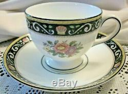 Wedgwood RUNNYMEDE BLUE Set 6 Footed Cups Saucers Container China England