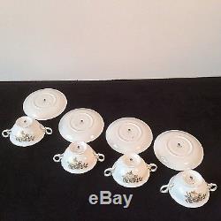 Wedgwood Tonquin Set 4 Cream Soup Bowls & Under Plates Bone China England W2488